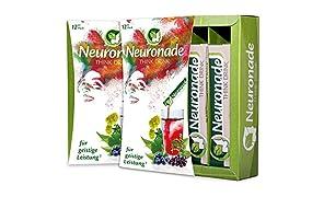 Neuronade ® - Think Drink für Konzentration, Gedächtnisleistung & gegen Müdigkeit | mit Ginkgo, Brahmi, Rosenwurz, Aronia, Grüntee, Biotin, Vitamin B12 & B5 | natürliche Inhaltsstoffe & 100% vegan - 12er Pack