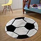 #4: The Home Talk Kids bath mat/floor rug, Football design, 100% cotton, 60 CM round, anti-skid backing, White & Black