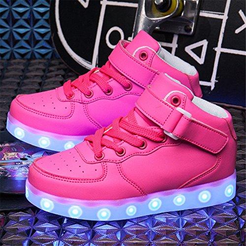 Schuhe Usb Dogeek Turnschuhe Rosa Leuchtend Led Sportschuhe Auflade Kinder 7 Sneaker Farbe XxxnOUFA
