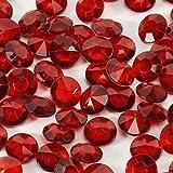 trendmarkt24 Acryl-Diamanten-Set Rot 400 Stück ✓ Ø ca. 1,2 cm groß ✓ Bezaubernde Plastik-Streu-Deko für Hochzeit Tischschmuck Geburtstag Tischdeko ✓ Diamant-Deko-Steine für Dekozwecke 2128201