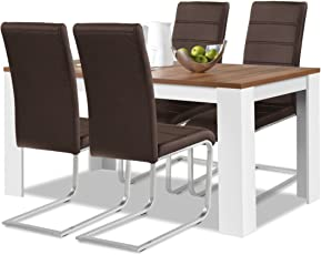 Agionda® Esstisch + Stuhlset : 1 X Esstisch Toledo 140 X 90 Nussbaum/Weiss