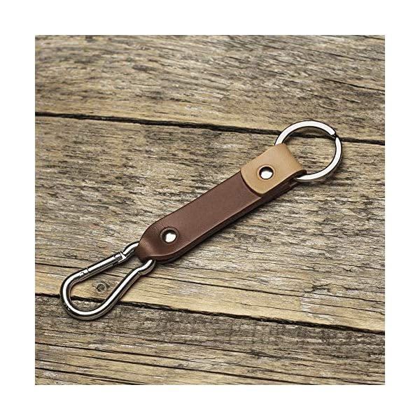 Brown and tan leather key chain, ring, keychain, boyfriend fob carabiner hook holder clip keyring groomsmen gift 61lbFr2N5zL