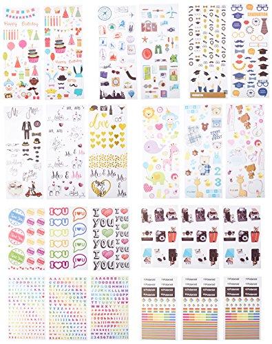 Polaroid Bunte & dekorative Aufkleber-Sets für Instant-Fotopapier-Projekte (Snap, Zip, Pop, Z2300) - 9 Einzigartige Sets (Hochzeit, Reise, Party, Abc, ABC, Liebe, Graduierung, Baby, Kamera, Logo) (Projekt Liebe)
