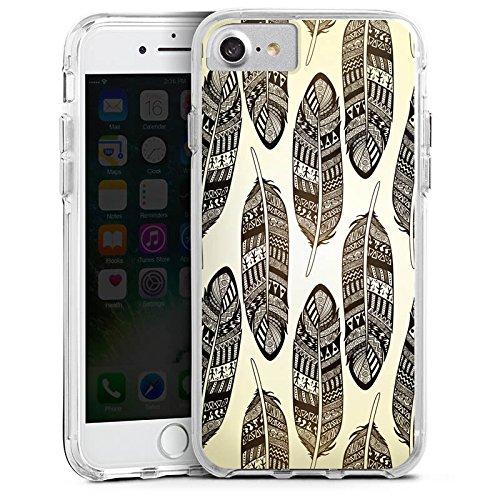 Apple iPhone 6 Bumper Hülle Bumper Case Glitzer Hülle Federn Tribal Indianer Bumper Case transparent