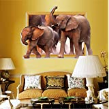 Speedex 3D Elephant Modern Bedroom Restaurant Living Room Entrance Decorative Wall Sticker - Multicolor