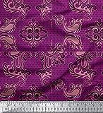 Soimoi Rosa Baumwolljersey Stoff Geometrisch & Paisley Damast Drucken Nahen Stoff 1 Meter 64 Zoll breit