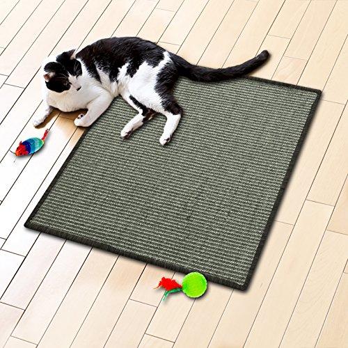 Floori® Sisal Kratzteppich   Naturfaser: nachhaltig und umweltfreundlich   Kratzmatte für die Krallenpflege Ihrer Katze   Grau Khaki, 50x50cm