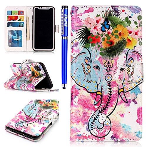 EUWLY Case Cover per iPhone X Custodia Portafoglio in PU Pelle Cover Ultra Slim Sottile Flip PU Leather Wallet Case Portafoglio Cover con Porta Carte, Supporto Stand Funzione, Magnetica Closure Protet Elefante Fiore