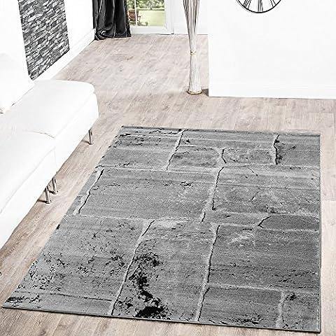 T&T Design Tapis moderne sol en pierre aspect marbre gris, gris, 60 x 100 cm