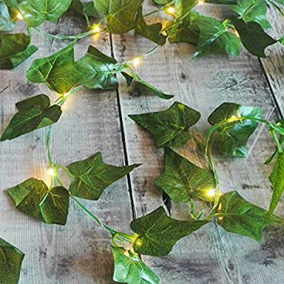 Ivy Fairy Lights / String Lights / Garland with Lights - 2.5m - Wedding Decorations - Battery Operated - Indoor Leaves - Leaf Garland with Lights - Fairy Lights Bedroom - Leaf Fairy Lights - Leaf Garland - Prime Delivery