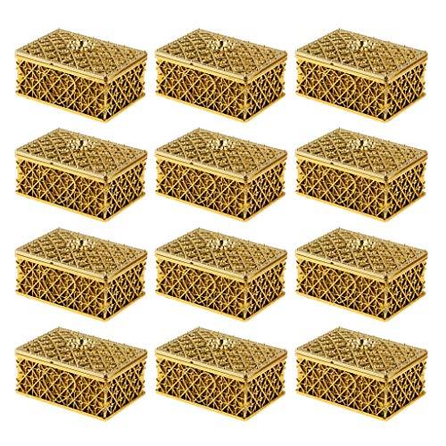 Box Kasten Karton Schachtel für Gastgeschenk BonBon und Schmuck mit Netzform - Gold ()