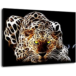 Dark 3D Leopard se cache Format: 80x60 cm peinture sur toile couverts, énorme XXL Photos pleinement et complètement encadrée avec civière, art impression sur murale avec cadre, moins cher que la peinture ou de l'image, aucune affiche ou un poster