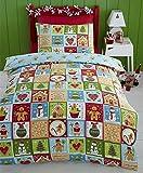 Kids Club Juego de ropa de cama con diseño de muñeco de pan de jengibre, multicolor, motivo navideño, multicolor, Doublé