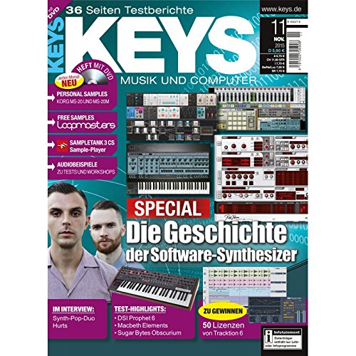 Keys 11 2015 mit DVD - Geschichte der Software Synthesizer - Sampletank 3CS auf DVD - Personal Samples - Free Loops - Audiobeispiele