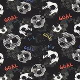 Fabulous Fabrics Sommersweat Fußball Goal – schwarz — Meterware ab 0,5m — Oeko-Tex Standard 100 — zum Nähen von Kinderbekleidung und Sweatshirts