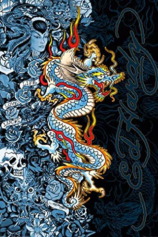 Laminated Posters ED Hardy Blue Dragon Tattoo Life Love Luck Poster Dimensions: 91,4x 61cm (91.5x 61cm