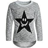 Kinder Pullover Mädchen Pulli Wende-Pailletten Sweatshirt Bluse Langarm 21515 Grau Größe 116