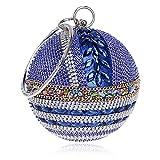 Eastever Frau Runde Ball Handtasche Abendtasche Strass Clutch Handtasche Handtasche für Hochzeit Bankett - Blau