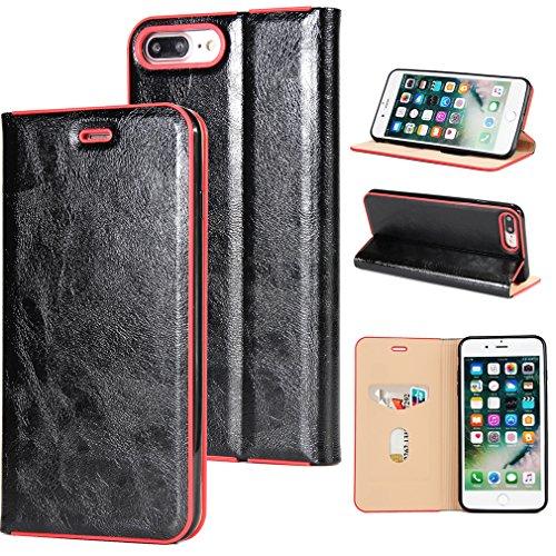 2017 Neu Hochwertige Kohlefaser automatische Saug-Schnalle Hülle Case ,TPU + Leder Cover Full Body Schutz für apple iphone 7plus (Braun) Schwarz