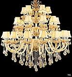 Wenrun Lighting E14 LED Treppen Hotel Lobby Villa 15-armig Ø80cm Champagner K9 Kristall Kerze Kristall Lampe Kronleuchter Deckenlampen Hängelampe Lüster Leuchte Lampe Licht
