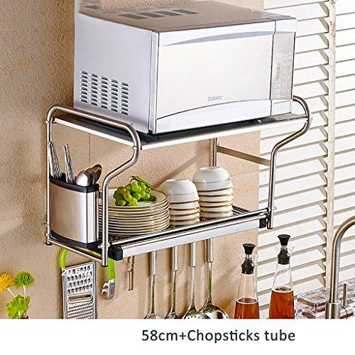 WENZHE Estantería Colgante Cocina Baldas Multifunción Microondas Parrilla Del Horno Acero Inoxidable, Largo 58cm (Color : 58cm+chopsticks tube)