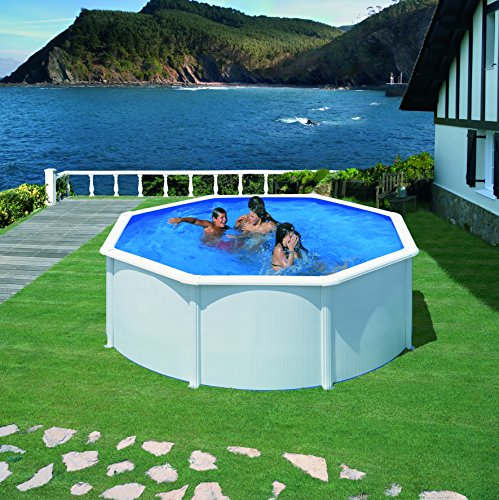 Gre KIT350ECO- Piscina Fidji desmontable redonda de acero color blanco Ø350x120 cm