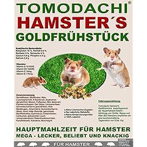 Hamsterfutter mit tierischem Eiweiß, Alleinfuttermittel für Hamster mit Bachflohkrebsen (Gammarus), leckerem Gemüse, Körnern und Saaten, Tomodachi® Hamster's Goldfrühstück 5kg Sack