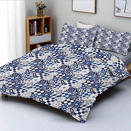 Soefipok Bettbezug-Set, Vintage Patchwork inspiriert Mosaik Fliesenmuster traditionelle Klassische DecorativeDecorative 3-teiliges Bettwäsche-Set mit 2 Kissen Sham, blau dunkelblau weiß, Fo -
