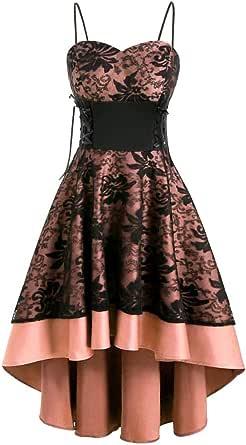 SHINEHUA Damen 1950er Vintage Gothic Kleid Retro Cocktailkleider Ärmellos Abendkleid Steampunk Petticoat Faltenrock Festliche Kleider Elegant Spaghetti Rückenfrei Rockabilly Partykleid