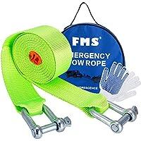 FMS 3.8m 5 Tonnes Corde de Remorquage Nylon Sangle de Remorquage avec 2 manilles de sécurité Auto Voiture 4X4