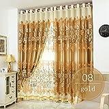 Nclon Romantisch Voile Vorhänge gardinen,Licht Blockiert Thermisch Isoliert UV Schutz Ösen Vorhänge gardinen-Gold 1 Panel W250cm*D270cm