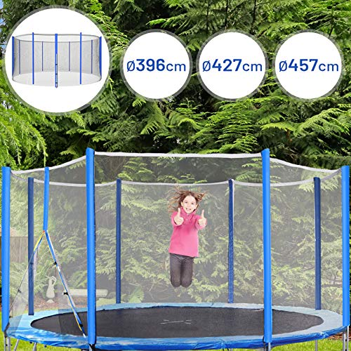 Physionics Sicherheitsnetz für Trampolin | Ø 396 cm, Höhe: 180 cm | Zubehör für Gartentrampolin, Outdoor, Netz, Schutznetz, Ersatznetz, Fangnetz