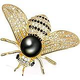 Gleamart - Spilla a forma di ape e miele, con strass, per ragazze e donne