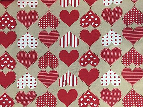 Euronovità Srl Telo arredo copridivano copriletto copritutto Colore Shabby Cuore Rosso Pois Bianco 170x280 cm in Cotone granfoulard 100% Made in Italy Produzione Propria EURONOVITA'