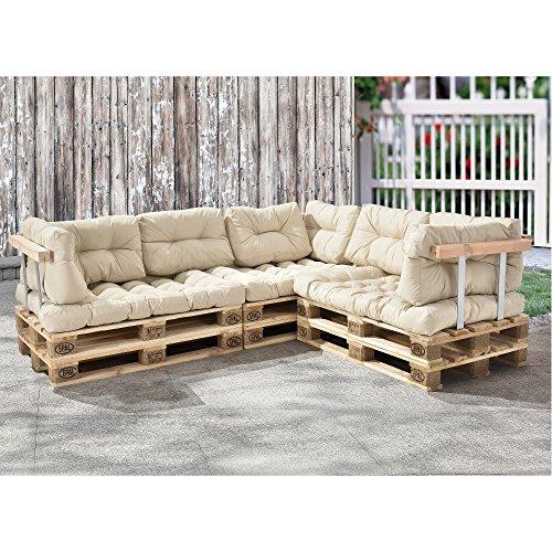 [en.casa] Palettenkissen - 11-teilig - Sitzpolster + Rückenkissen [creme] Paletten-Sofa In/Outdoor - 3