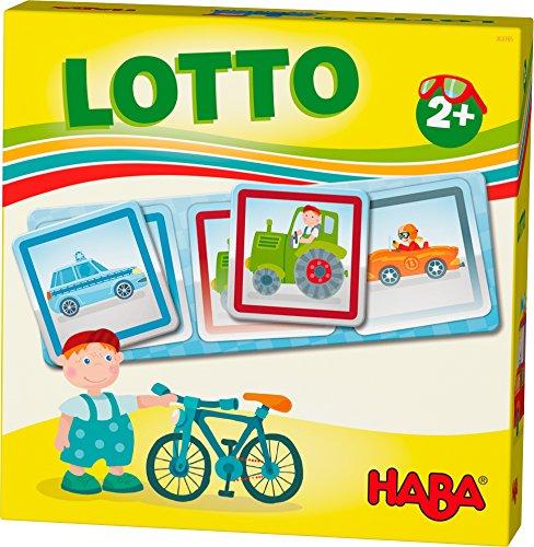HABA 303765 - HABA-Lieblingsspiele – Lotto Fahrzeuge | Lottospiel mit 4 Ablagekarten und 12 extragroßen Lottokarten aus Pappe | Zuordnungsspiel mit bunten Fahrzeugmotiven | Spielzeug ab 2 jahren