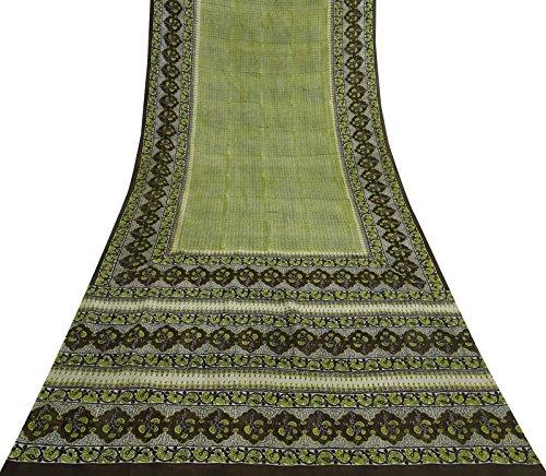 Vintage Indian Reine Seide White Saree Leaf Printed Ethnische Handwerk Used Fabric 5 Yds Seide Saree