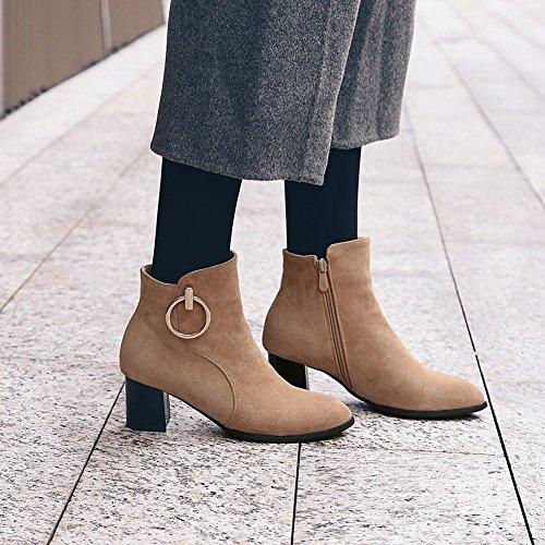 MissSaSa Donna Scarpe col Tacco Metà Moda e Elegante Stivaletti cammello grigio