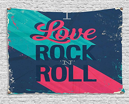 VTXWL Rock Music Tapestry, Vintage I Love Rock and Roll Slogan Worn Abstract Poster, Wall Hanging for Bedroom Living Room Dorm, 80 W X 60 L Inches, Turquoise Dark Coral Blue Grey Warm Grey Moon Rock