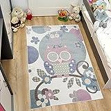 TAPISO HAPPY Kinder Teppich Kurzflor | Designer Kinderteppich in Pastell Creme Bunt Mehrfarbig mit Modern Vogel Eule Tiere Muster | Perfekt für Kinderzimmer | ÖKOTEX 120 x 170 cm