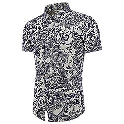 Yowablo Shirts Bluse Herren Hawaiian Beach Party Holiday Camp Lässige Kurzarm Fashion Floral Leinen Basic T-Shirt Top (XXL,1Weiß)
