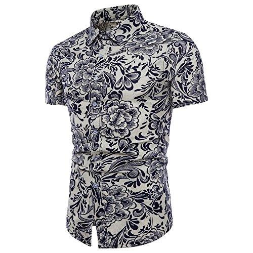 Personalisierter Neues T-shirt (Routinfly 2019 Neue Herren Leinen Bohe Floral Kurzarm Shirt,Männer Sommer Beiläufige Lose Personalisierte Bedruckte Grundlegende T-Shirt Bluse Top Plus Größe Tunika Pullover T)