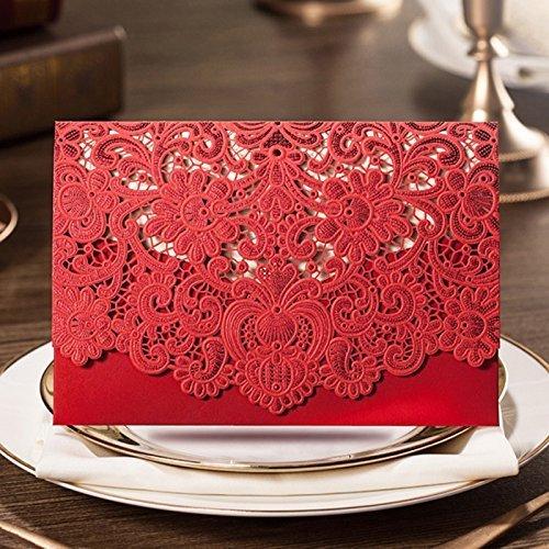 VStoy Laser-Schnitt-Hochzeits -Einladungen Karten Elegante Licht lila Blumen-Hochzeit Bevorzugungen Bogen Party Supplies mit Umschlag und Siegel 20 Stück (Rot)