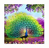 5D Diamond DIY Rhinestone Pasted, EUZeo Animal Peacock Swan Loong Wolf etc Embroidery Painting Cross Stitch Kits Mosaic Handmade Painting (Multicolor, A:40 * 40CM)