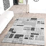 Teppich Günstig Retro Design Modern Wohnzimmerteppich Grau Schwarz Creme Meliert, Größe:120x170 cm