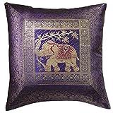 Indian Arts Fair Trade indischen Brokat Arbeit Elefant Baumwolle Kissen cover, violett, 45 x 45 cm