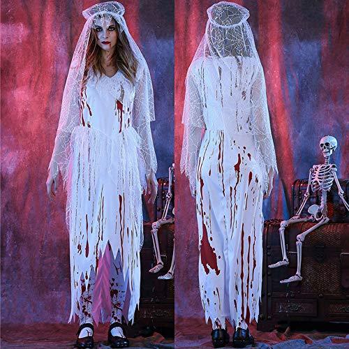 Edelehu Zombie Braut Blutfleck Kostüm Halloween Cosplay Kostüm Tunika Kapuzen Robe Kapuzenumhang Kap Mittelalterliche Kapuzen Urlaub Partei Ausrüstung,M (Zombie Robe Kostüme)