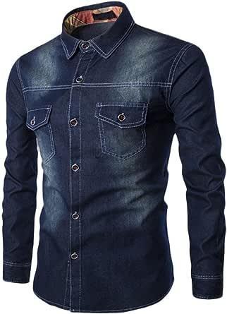 HARRYSTORE Men's Denim Western Button Up Shirt Long Sleeve Tee Shirt Cowboy Long Tops