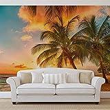 Palmen Am Strand - Forwall - Fototapete - Tapete - Fotomural - Mural Wandbild - (3393WM) - XXL - 312cm x 219cm - VLIES (EasyInstall) - 3 Pieces