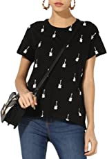 FashMind Women's Black Short Sleeve Tshirt with Round Neck and White Guitar Print